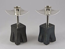 Chiseled Base With Tall Candlesticks by Nicole and Harry Hansen (Metal Candleholders)