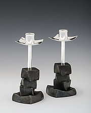 Stacked Block Candlesticks by Nicole and Harry Hansen (Metal Candleholders)