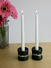 Medium Double Rope Candleholder by Nicole and Harry Hansen (Metal Candleholders)