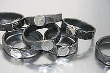 Monogrammed Napkin Rings by Nicole and Harry Hansen (Metal Serving Ware)