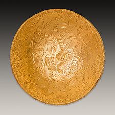 Gold Fossil Bowl by Valerie Seaberg (Ceramic Bowl)