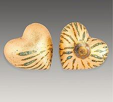 Heart in Hand Rattles VIIII by Valerie Seaberg (Ceramic Sculpture)