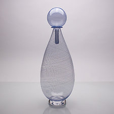 Bottle with Stopper Study in Navy II by Andrew Iannazzi (Art Glass Vessel)
