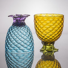 Pair of Small Piña Glasses by Andrew Iannazzi (Art Glass Drinkware)