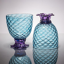 Pair of Small Pineapple Glasses by Andrew Iannazzi (Art Glass Drinkware)