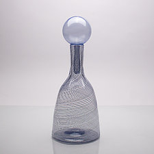 Bottle with Stopper Study in Navy III by Andrew Iannazzi (Art Glass Vessel)