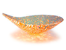 Nido 23 Summer Orange and Azure Bowl by Joseph Enszo (Art Glass Bowl)