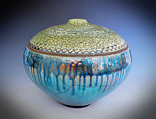 Blue Rain Raku Vessel III by Tom Neugebauer (Ceramic Vessel)