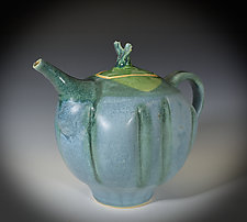 Stoneware Teapot in Matte Blue and Green by Tom Neugebauer (Ceramic Teapot)