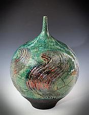 Copper Swirl Vase by Tom Neugebauer (Ceramic Vase)