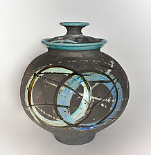 Turquoise Raku Halo Urn by Tom Neugebauer (Ceramic Urn)