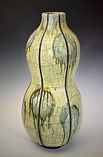 Hanaire - Large Raku Gourd Vessel by Tom Neugebauer (Ceramic Vessel)