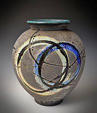 Blue Circle Halo Vase by Tom Neugebauer (Ceramic Vase)