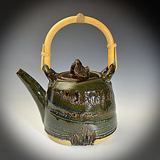 Stoneware Teapot with Bamboo Handle by Tom Neugebauer (Ceramic Teapot)