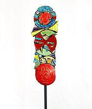 Cosmic Garden Totem by Cathy Gerson (Ceramic Sculpture)