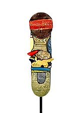 Grounded Garden Totem by Cathy Gerson (Ceramic Sculpture)