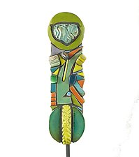 Swoosh Garden Totem by Cathy Gerson (Ceramic Sculpture)