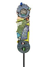 Cosmic Son Garden Totem by Cathy Gerson (Ceramic Sculpture)