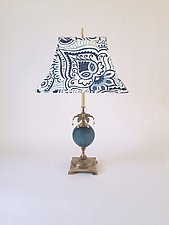 Blue Sea by Mollie Woods (Mixed-Media Table Lamp)