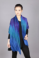 Feather Pleats Shawl in Blues by Min Chiu  and Sharon Wang  (Silk Shawl)