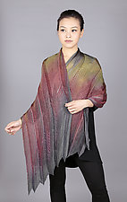 Feather Pleats Shawl in Olive & Mauve by Min Chiu  and Sharon Wang  (Silk Shawl)