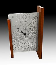 Music Time Mantle Clock by Evy Rogers (Metal & Wood Clock)