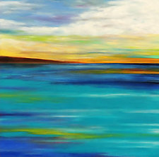 Clouds Over Turquoise by Mary Johnston (Oil Painting)
