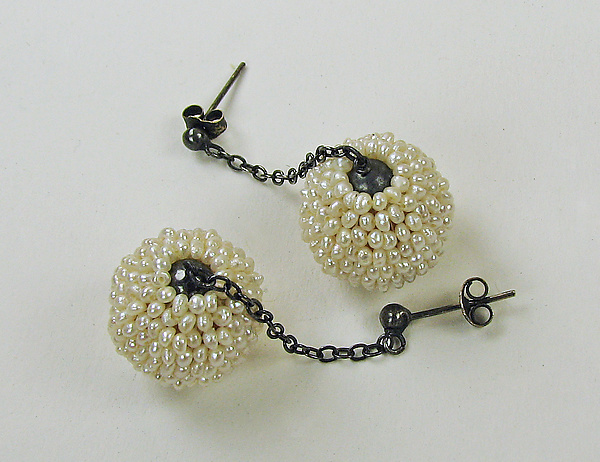 Mod Seed Pearl Drop Earrings By Julie Long Gallegos Silver Artful Home