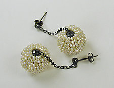Mod Seed Pearl Drop Earrings by Julie Long Gallegos (Silver & Pearl Earrings)