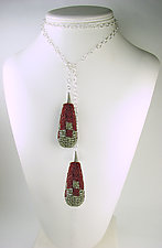 Art Deco Wine and Silver Beaded Lariat by Julie Long Gallegos (Silver & Bead Necklace)