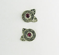 Ruby and Silver Flowers by Julie Long Gallegos (Silver & Stone Earrings)