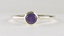Four-Ring Stack with Amethyst, Kyanite & Sapphire by Julie Long Gallegos (Gold, Silver & Stone Ring)