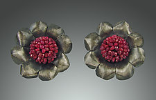 Ruby Camellia Button Style Earrings by Julie Long Gallegos (Silver & Stone Earrings)