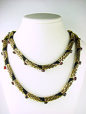 Gold and Garnet Beaded Necklace by Julie Long Gallegos (Gold & Stone Necklace)