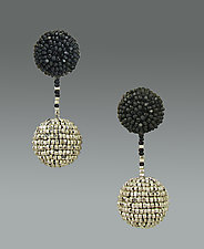 Black and Silver Mod Earrings by Julie Long Gallegos (Beaded Earrings)