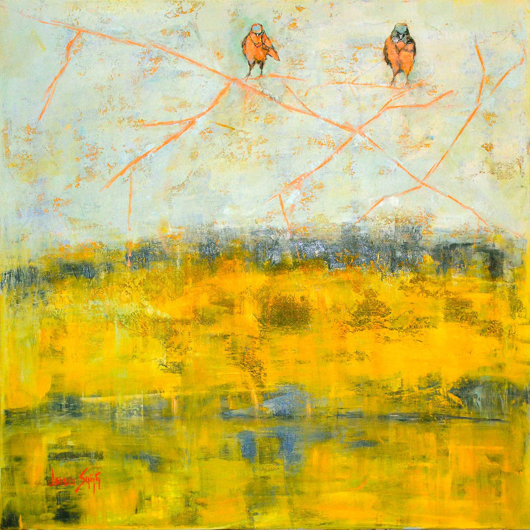 Red robins in an orange field by janice sugg oil painting for Will oil paint stick to glass
