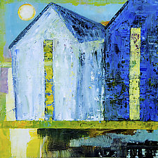 Full Moon White Barn by Janice Sugg (Oil Painting)