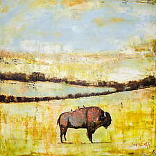 Western Bison on the Landscape by Janice Sugg (Oil Painting)