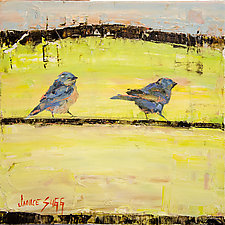 Sunrise Bluebirds by Janice Sugg (Oil Painting)