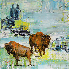 Blue Sky, Yellow Light, Bison by Janice Sugg (Oil Painting)