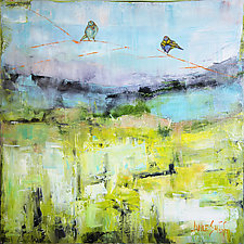 Birds Above Violet Horizon by Janice Sugg (Oil Painting)