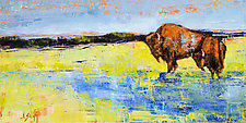 Blue Horizon with Bison by Janice Sugg (Oil Painting)
