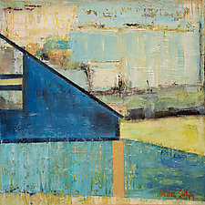 Gold Stream, Blue Barn by Janice Sugg (Oil Painting)