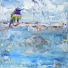 Hummingbird on a Blue Sky by Janice Sugg (Oil Painting)