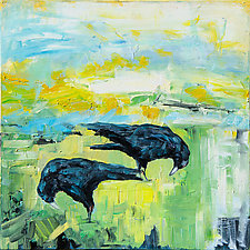 Black Crows, Yellow Sun by Janice Sugg (Oil Painting)