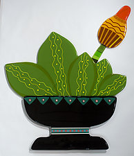Potted Cactus in Bud by Mary Johannessen (Art Glass Wall Sculpture)