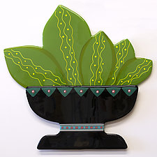 Potted Prickly Pear by Mary Johannessen (Art Glass Wall Sculpture)