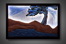 Moonlight Landscape by Aaron Laux (Art Glass & Wood Wall Sculpture)