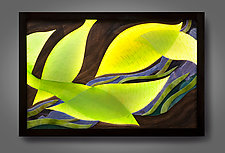 Luminous Leaf Pattern by Aaron Laux (Art Glass & Wood Wall Sculpture)