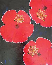 Red Hibiscus Showing Off by Pamela Acheson Myers (Acrylic Painting)